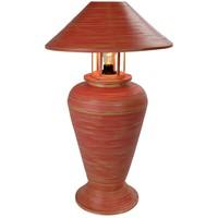 Lampada da Tavolo in Bambù a Spirale Fatta a Mano Rossa 40x40x65cm