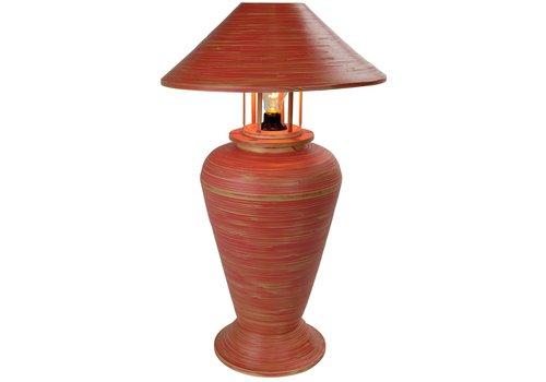 Fine Asianliving Tischlampe Bambus Spirale Handgefertigt Rot 40x40x65cm