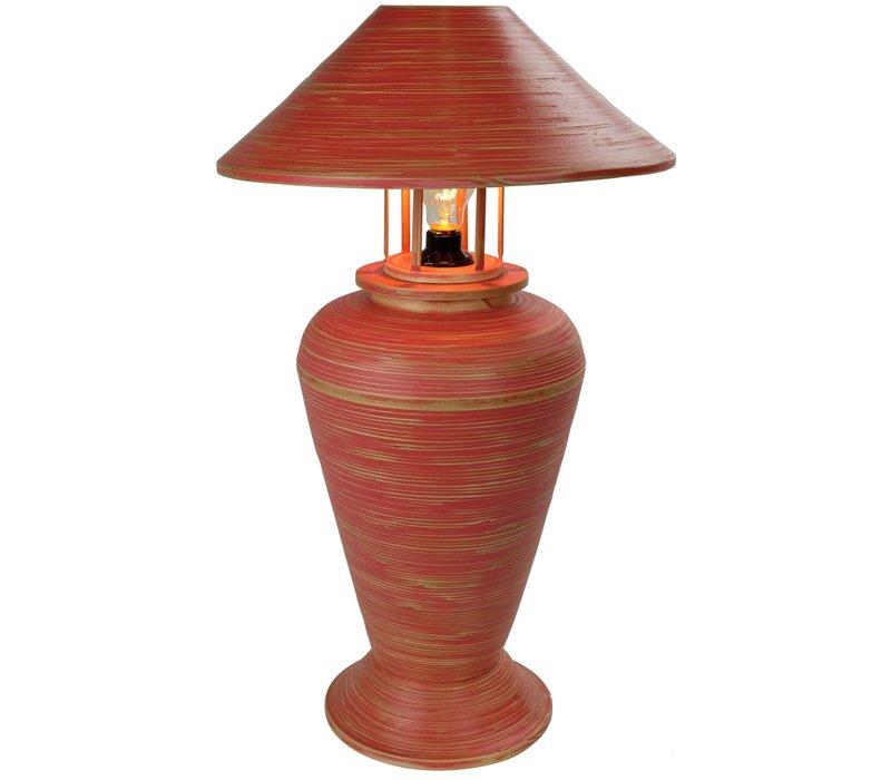 Lámpara de Mesa Espiral de Bambú Hecha a Mano Roja 40 x40 x65 cm