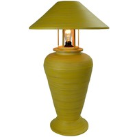 Lampada da Tavolo in Bambù a Spirale Fatta a Mano Gialla 40x40x65cm