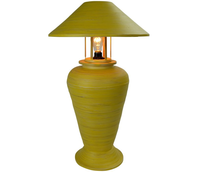 Tischlampe Bambus Spirale Handgefertigt Gelb 40x40x65cm