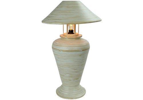 Fine Asianliving Tischlampe Bambus Spirale Handgefertigt Weiß 40x40x65cm