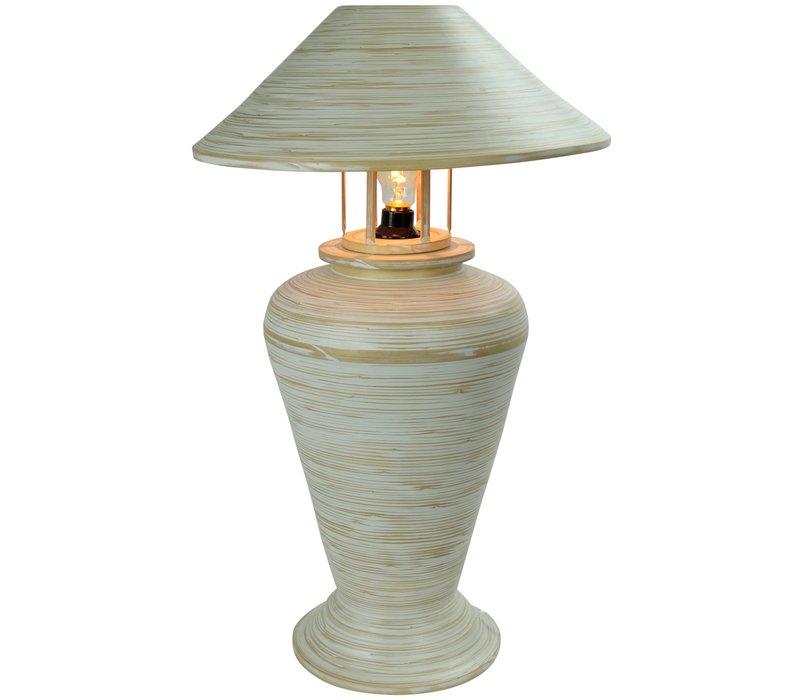 Bamboe Tafellamp Spiraal Handgemaakt Wit D40xH65cm