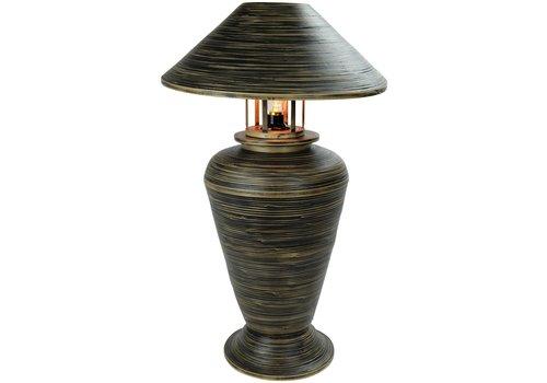 Fine Asianliving Tischlampe Bambus Spirale Handgefertigt Schwarz 40x40x65cm
