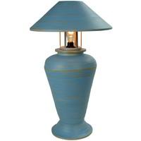 Bamboe Tafellamp Spiraal Handgemaakt Blauw D40xH65cm