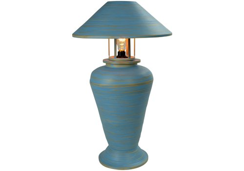 Fine Asianliving Bamboo Table Lamp Spiral Handmade Blue 40x40x65cm