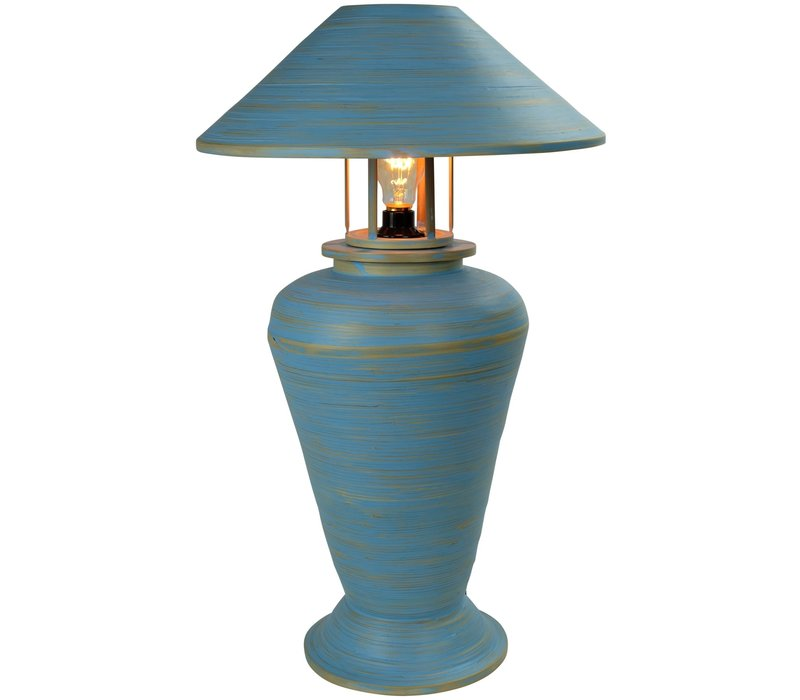 Bamboo Table Lamp Spiral Handmade Blue 40x40x65cm