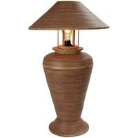 Lampada da Tavolo in Bambù a Spirale Fatta a Mano Marrone 40x40x65cm