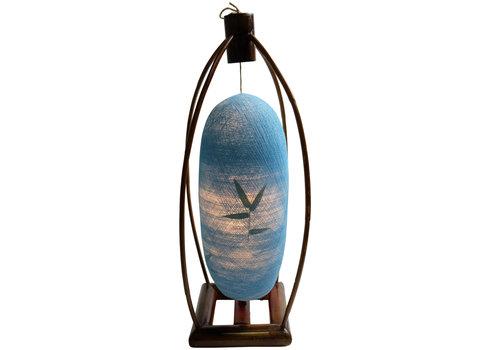 Fine Asianliving Tischlampe Bambus und Baumwollfaden Handgefertigt Blau 22x64cm