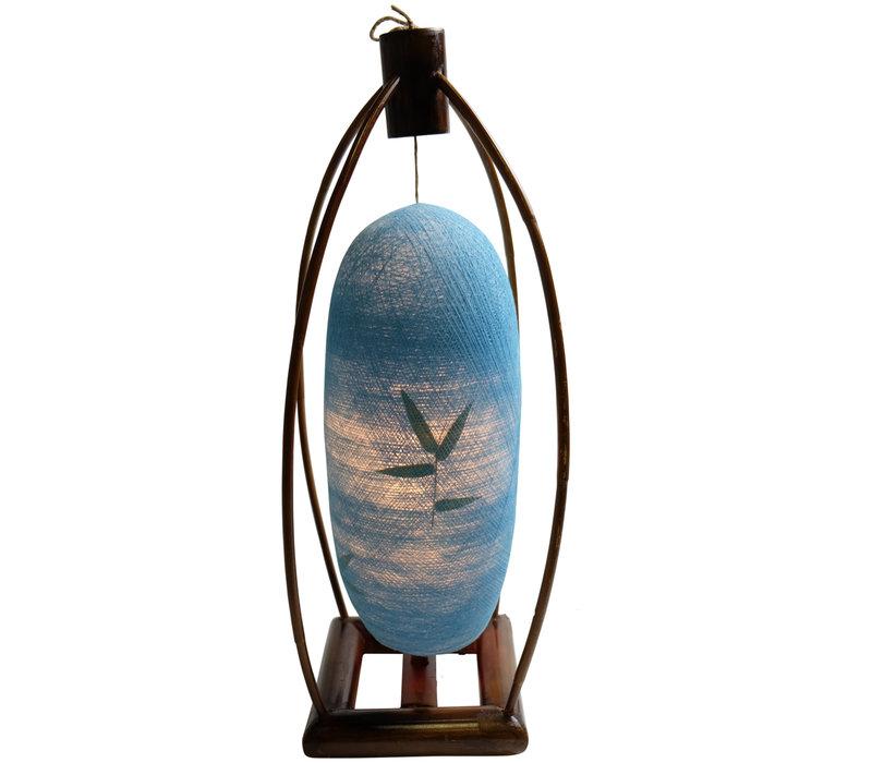 Lampada da Tavolo in Bambù e Filo di Cotone Fatta a Mano Blu 22x64cm