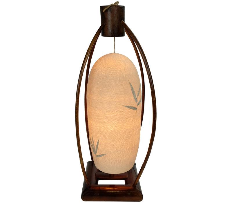 Lampada da Tavolo in Bambù e Filo di Cotone Fatta a Mano Naturale 22x64cm