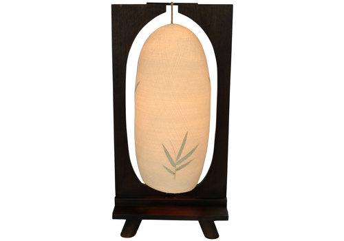 Fine Asianliving Tischlampe Holz und Baumwollfaden Handgefertigt Dunkel 27x15x55cm