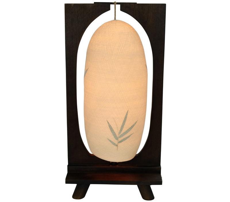 Tafellamp Katoen Draad Handgevlochten Teak Hout Donkere Basis B27xD15xH55cm