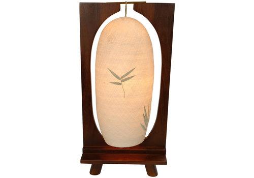 Fine Asianliving Cotton Thread Table Lamp Handmade Teak Wood Base Light 27x15x55cm