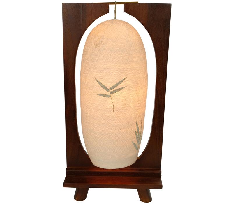 Tafellamp Katoen Draad Handgevlochten Teak Hout Lichte Basis B27xD15xH55cm