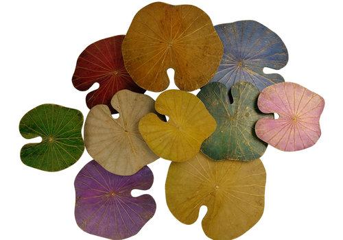 Fine Asianliving Décoration Murale Feuille de Lotus multicouleur