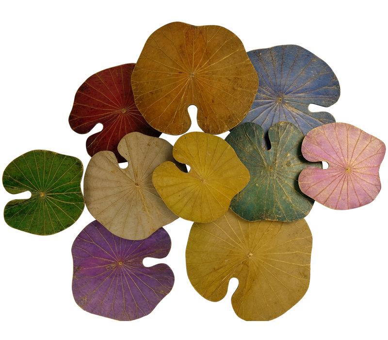 Lotus Leaf Painting Sustainable Wall Art 3D Multicolour