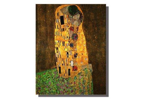 Fine Asianliving Tableau sur Toile Gustav Klimt Le Baiser Giclée et Embelli à la Main L70xH90cm