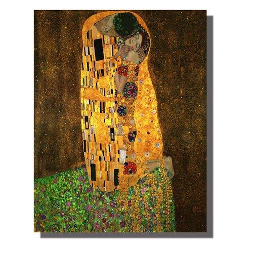 Wall Art Canvas Print 70x90cm Der Kuss Gustav Klimt Hand Embellished Giclee Handmade