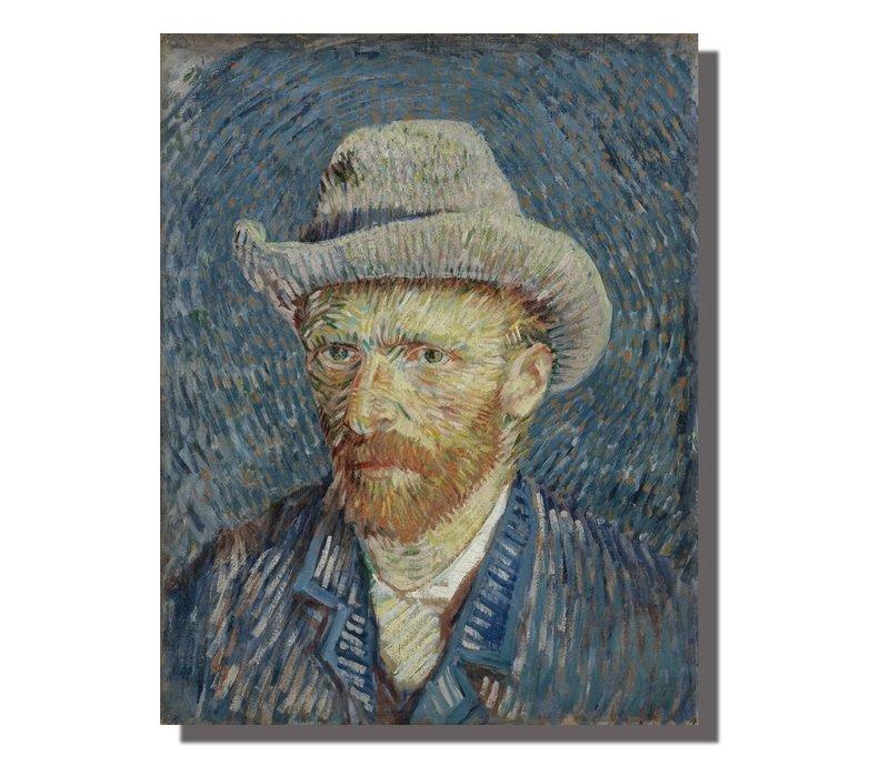 Tableau sur Toile Vincent van Gogh Autoportrait Giclée et Embelli à la Main L70xH90cm
