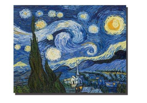 Fine Asianliving Tableau sur Toile Vincent van Gogh La Nuit Étoilée Giclée et Embelli à la Main L90xH70cm