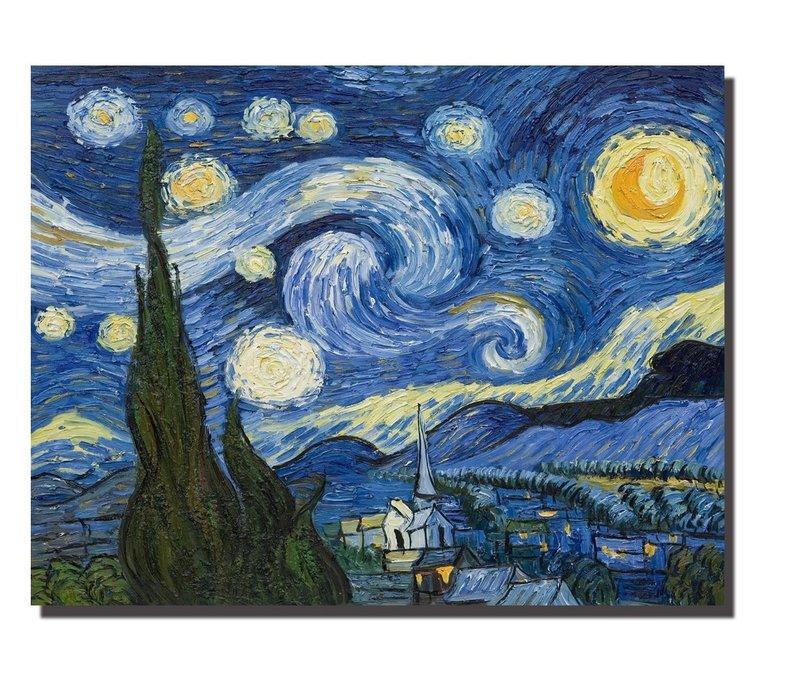 Tableau sur Toile Vincent van Gogh La Nuit Étoilée Giclée et Embelli à la Main L90xH70cm