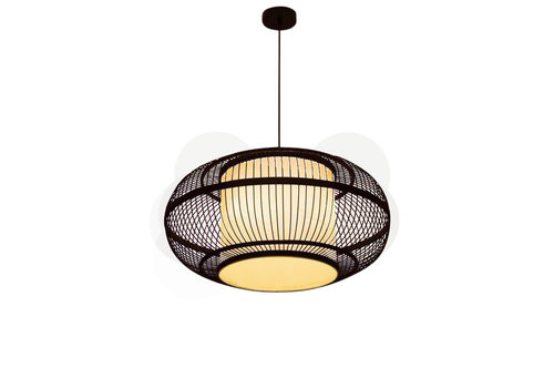 Fine Asianliving Bamboo Pendant Lamp Black Ceiling Lampshade Handmade - Jake