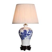 Chinese Table Lamp Porcelain White Blue Landscape