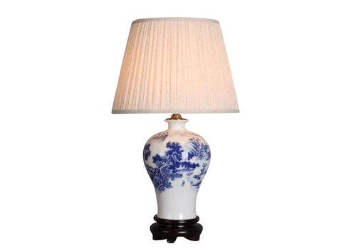 Fine Asianliving Lampe de table chinoise en porcelaine blanc bleu paysage
