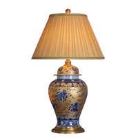 Fine Asianliving Oriental Lampe De Table Porcelaine Or Blanc Bleu Motif