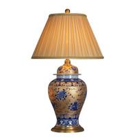 Oosterse Tafellamp Porselein Bladgoud met Blauwe Geluksmotieven