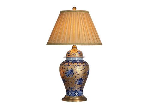 Fine Asianliving Lampada da Tavolo Cinese in Porcellana Oro con Blu