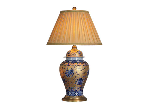 Fine Asianliving Oriental Table Lamp Porcelain Gold with Blue Pattern