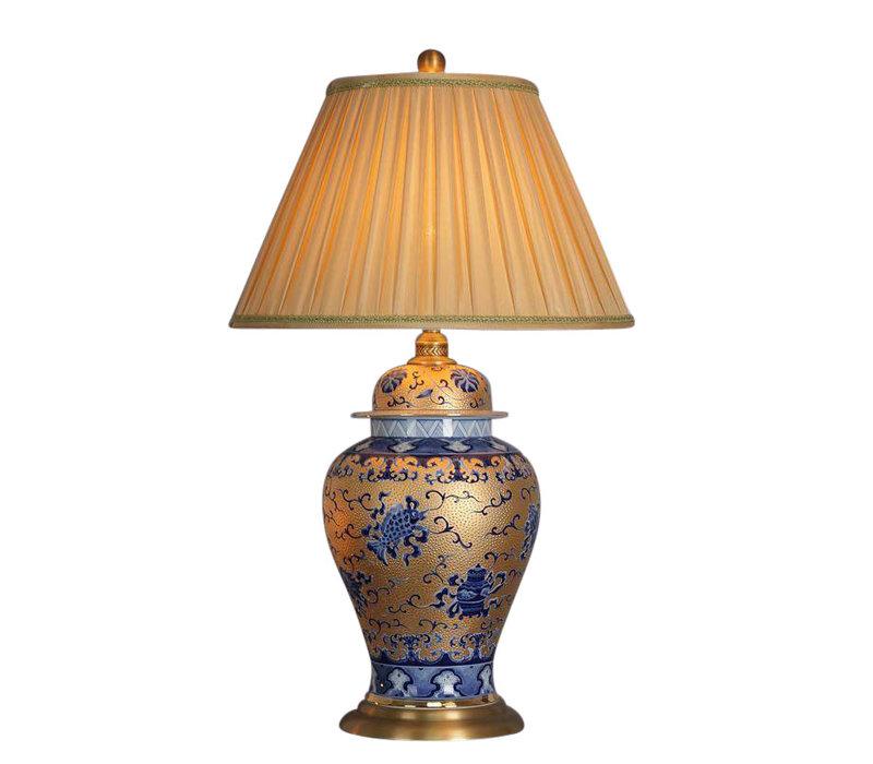 Lampade da Tavolo Cinese in Porcellana Oro con Blu