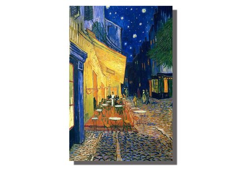 Fine Asianliving Tableau sur Toile Vincent van Gogh Terrasse du Café le Soir Giclée et Embelli à la Main L120xH80cm