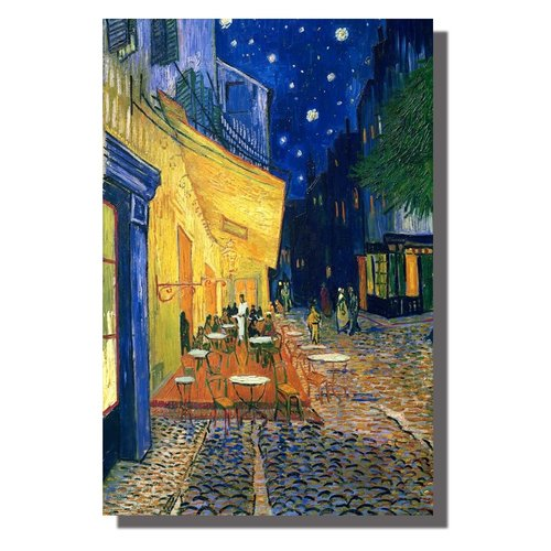 Wall Art Canvas Print 120x80cm Cafe Terrace at Night van Gogh Hand Embellished Giclee Handmade