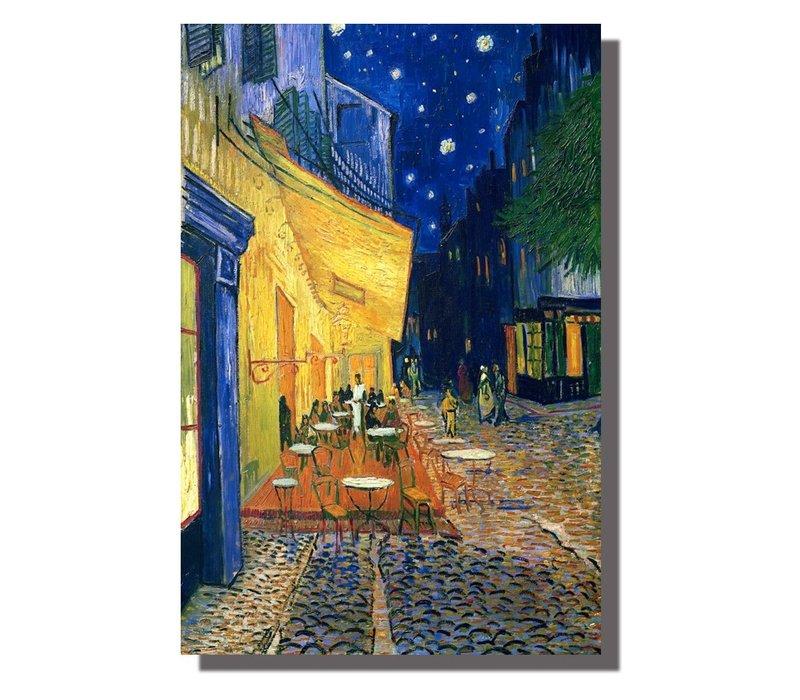 Schilderij Wall Art Canvas Print 80x120cm Cafe Terras In De Avond van Gogh Handgemaakt Giclee