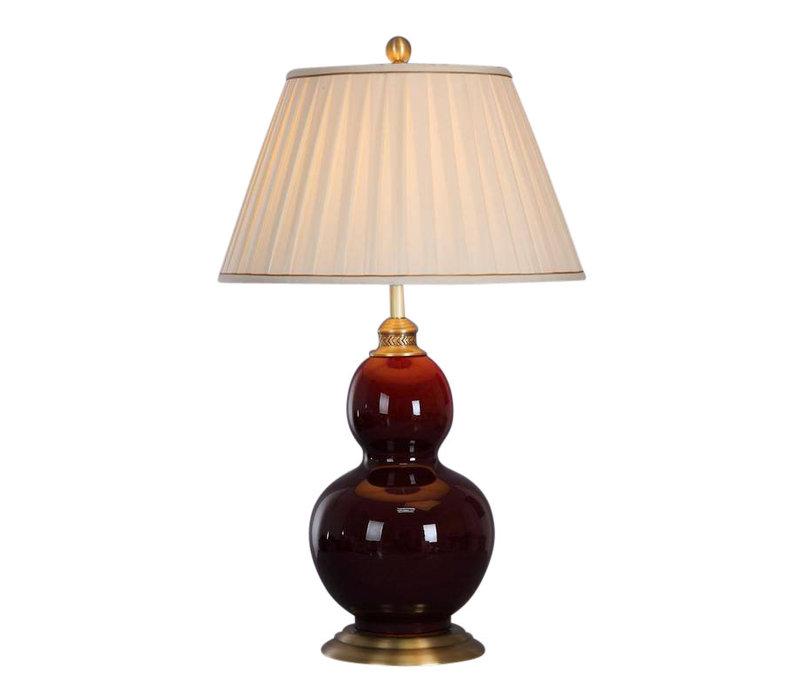 Lampada da Tavolo Cinese in Porcellana Rosso Bordeaux