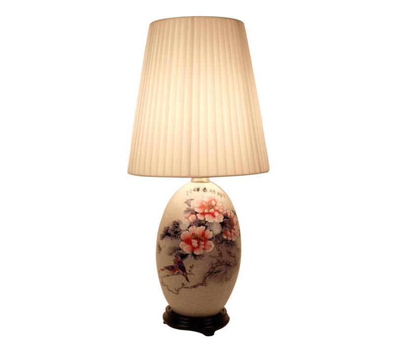 Fine Asianliving Oosterse Tafellamp Porselein Handbeschilderde Bloemen
