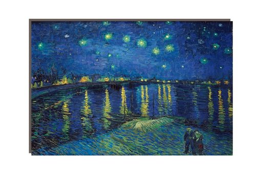 Fine Asianliving Schilderij Wall Art Canvas Print 120x80cm Starry Night above Rhone van Gogh Hand Embellished Giclee Handmade