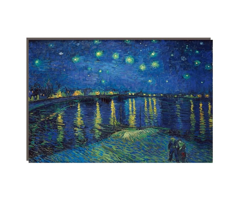 Schilderij Wall Art Canvas Print 120x80cm Starry Night above Rhone van Gogh Hand Embellished Giclee Handmade