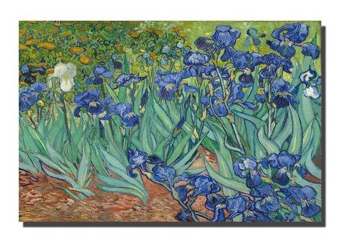 Fine Asianliving Tableau sur Toile Vincent van Gogh Iris des Jardins Giclée et Embelli à la Main L120xH80cm