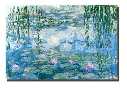 Fine Asianliving Tableau sur Toile Claude Monet Les Nymphéas Giclée et Embelli à la Main L120xH80cm