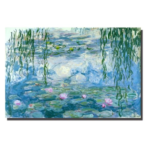 Wall Art Canvas Print 120x80cm Waterlilies Claude Monet Hand Embellished Giclee Handmade