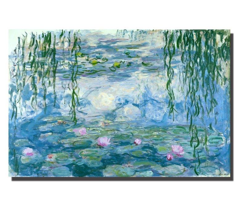 Wall Art Canvas Print 120x80cm Waterlilies Claude Monet Hand Embellished Giclee Handmade
