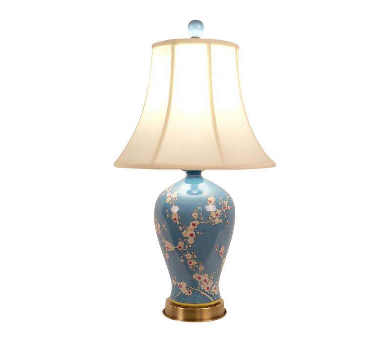 Chinese Tafellamp Porselein Handgeschilderde Sakura Blauw