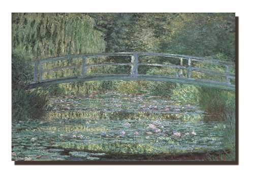 Fine Asianliving Schilderij Wall Art Canvas Print 120x80cm Bridge over a Pond of Water Lilies Claude Monet Hand Embellished Giclee Handmade