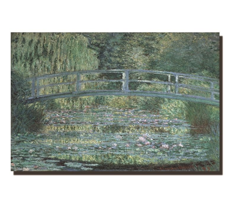 Schilderij Wall Art Canvas Print 120x80cm Bridge over a Pond of Water Lilies Claude Monet Hand Embellished Giclee Handmade