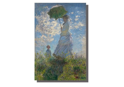 Fine Asianliving Schilderij Wall Art Canvas Print 120x80cm Woman Parasol Claude Monet Hand Embellished Giclee Handmade