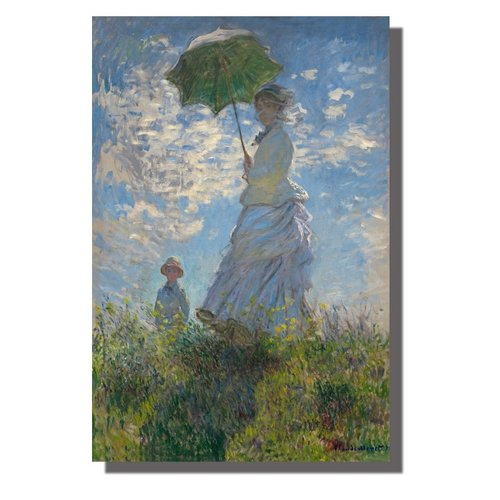 Wall Art Canvas Print 120x80cm Woman Parasol Claude Monet Hand Embellished Giclee Handmade